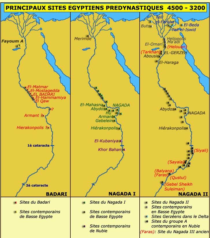 Carte des principaux sites prédynastiques d'Egypte.  (Site Egypte antique)