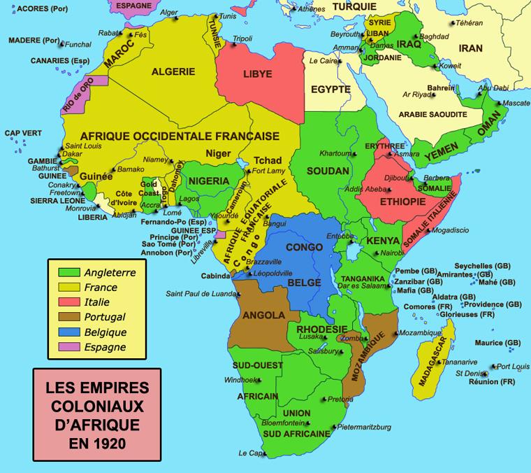 Carte de la colonisation de l'Afrique en 1920