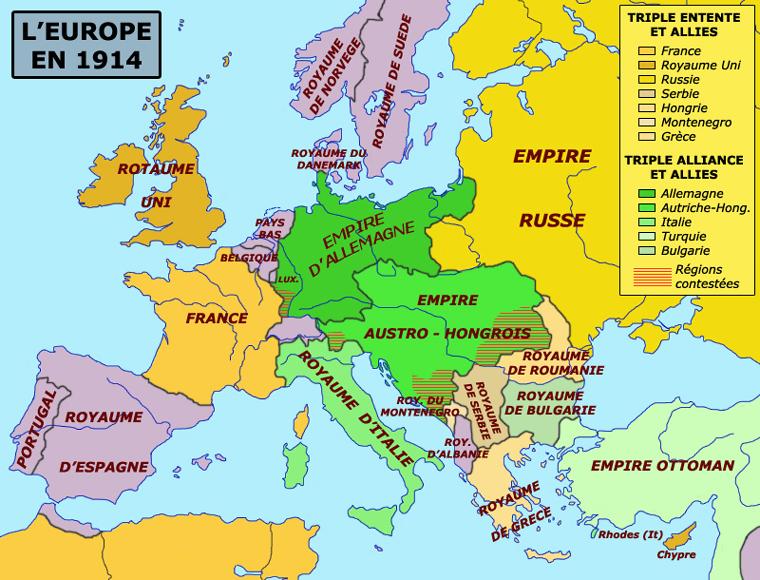 Carte des jeux d'alliances en l'Europe à la veille du premier conflit mondial