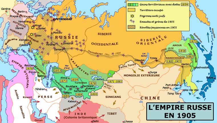 Carte de l'empire russe sous les derniers tsars, jusqu'à la veille de la guerre russo-japonaise de 1905