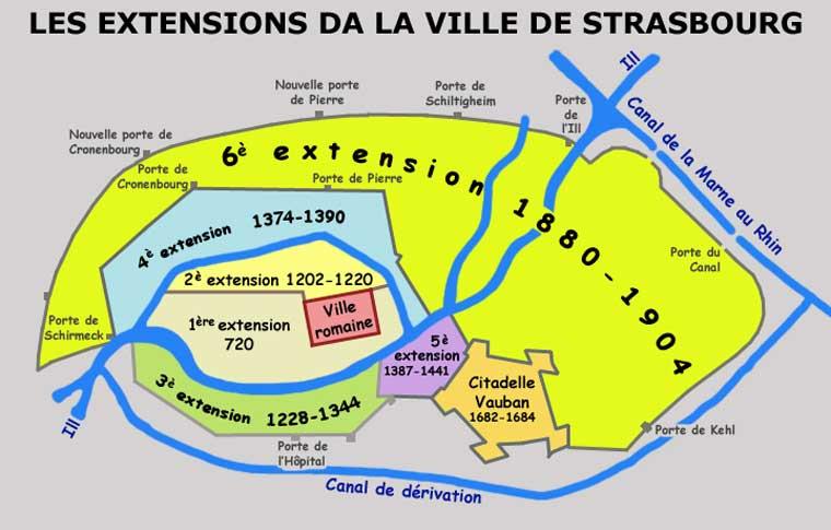 L'extension de la ville de Strasbourg depuis l'empire romain au second Reich