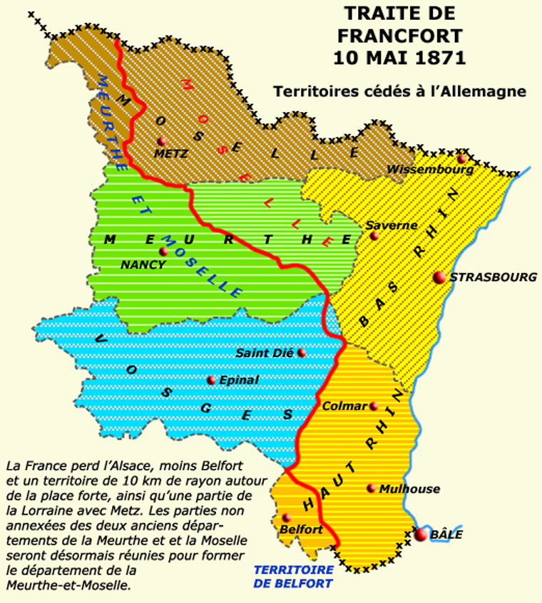 L'Alsace lors du traité de Francfort le 10 mai 1871
