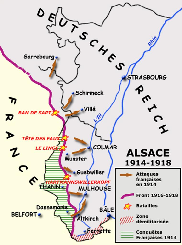 Le front en Alsace entre 1914 et 1918