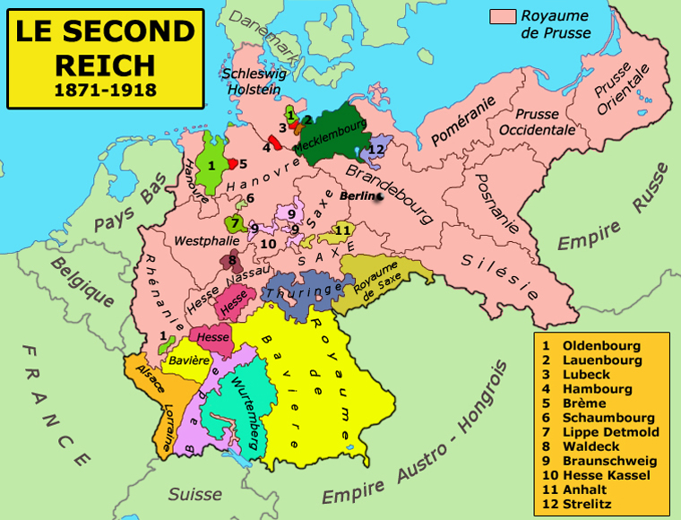 Carte de l'empire allemand entre 1870 et 1918