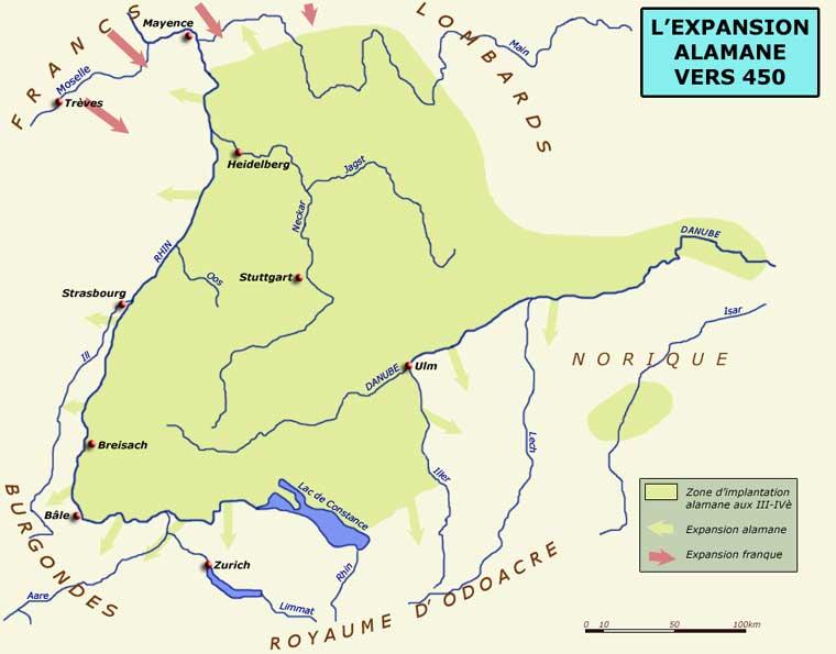 L'expansion alamane vers 450