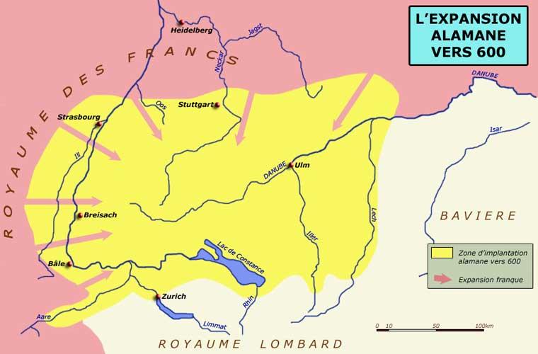 Le territoire alaman vers 600 et la poussée franque