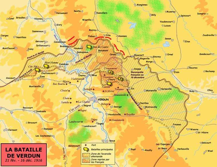 Carte de la bataille de Verdun (21 février – 21 juillet 1916