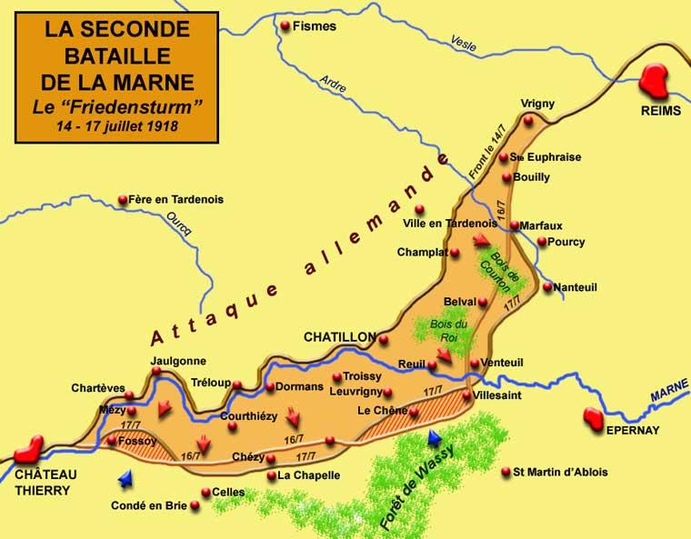 La seconde bataille de la Marne : le « Friedensturm » : carte de la tentative allemande de percement du front du 14 au 17 juillet 1918