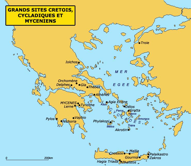 Carte des principaux sites mycéniens. (Art grec)