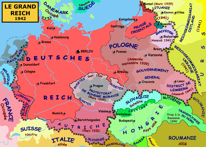 Le « Grand Reich » en 1942, à l'apogée de sa puissance