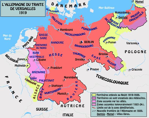 L'Allemagne du traité de Versailles, 1919.Situation général