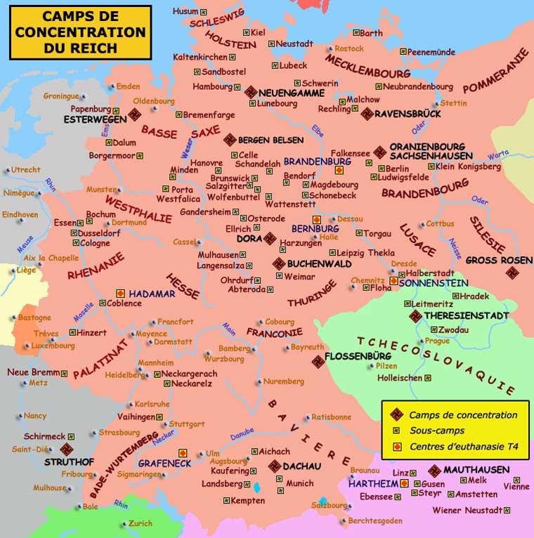 Camps de concentration, kommandos et centres d'euthanasie dans le Reich