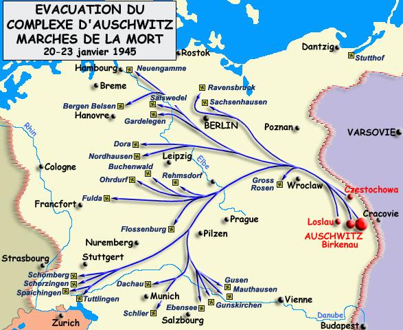 Evacuation du complexe d'Auschwitz et marches de la mort, 20-23 janvier 1945