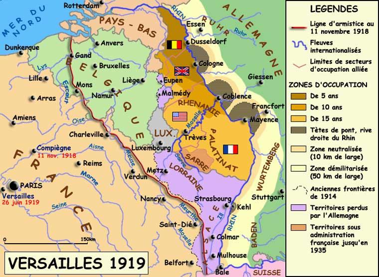 L'Allemagne du traité de Versailles, 1919. Situation à l'oues