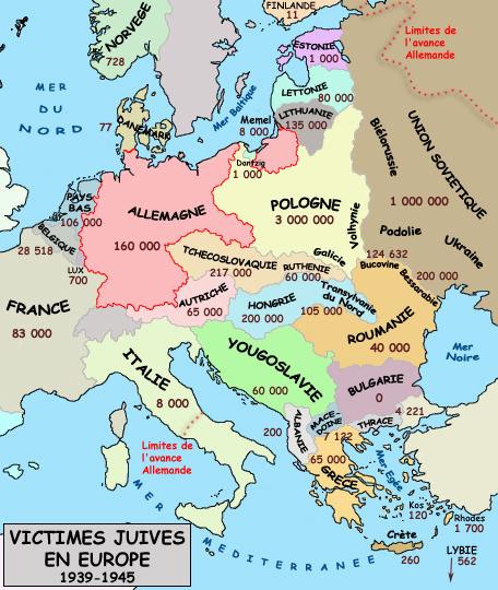 Bilan de l'holocauste: victimes juives en Europe entre 1939 et 1945