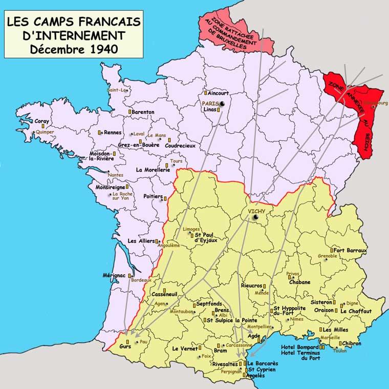 Les camps français d'internement, décembre 1940