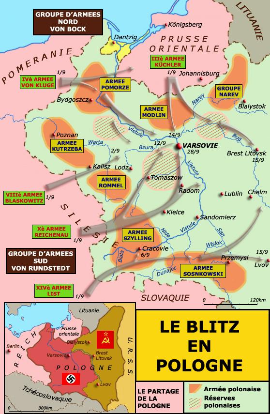 Carte des opérations en Pologne