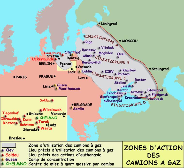 Les zones d'action des camions à gaz en Europe de l'Est