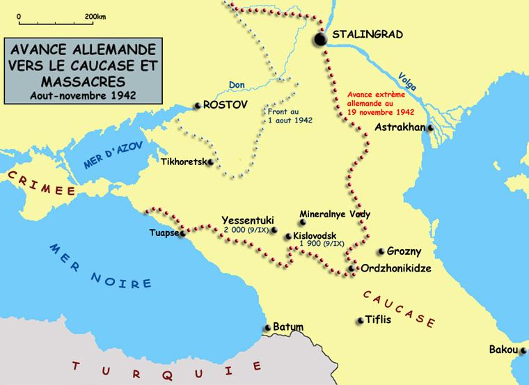 L'avance de la Wehrmacht dans le Caucase et les massacres des Einsatzgruppen d'août à novembre 1942
