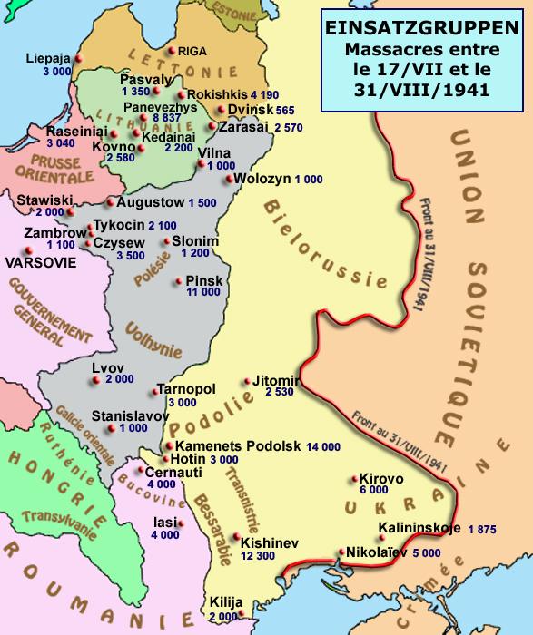 Einsatzgruppen: massacres entre le 17 juillet et le 31 août 1941