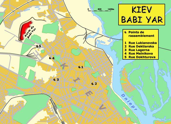 Babi Yar: carte de Kiev, des sites de rassemblement et du ravin de la mort
