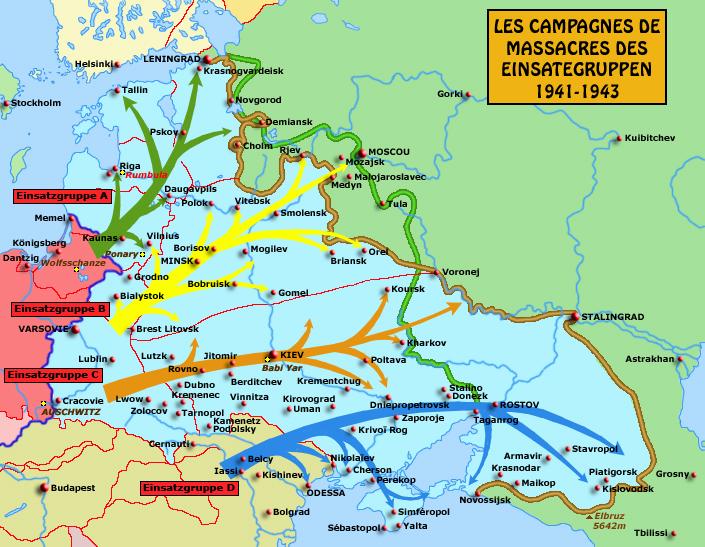 Carte des campagnes des Einsatzgruppen sur le front est: un «assaut» contre les Juifs strictement et méticuleusement planifié
