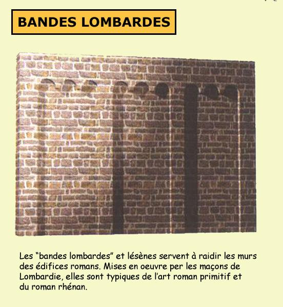 Les bandes lombardes et lésènes sont fréquentes dans l'architecture romane rhénane, notamment en Alsace