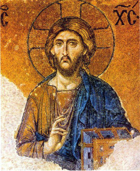 Christ Pantocrator. Détail de la Deisis de Sainte Sophie de Constantinople. XIIIè siècle. Mosaïque: l'image d'un Dieu transcendant et éloigné