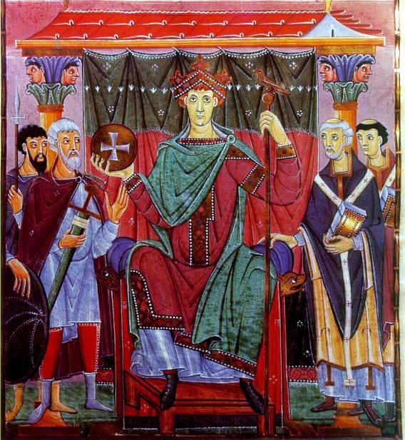 Page de l'Evangéliaire d'OttonIII: l'empereur trônant entouré des dignitaires. Vers 990, abbaye de la Reichenau. Münich, Bayerische Staatsbibliothek