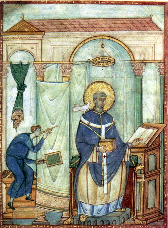 Page du Registrum Gregorii: Grégoire le Grand inspiré par la colombe.  983, 19,8x27cm. Trèves, bibliothèque municipale
