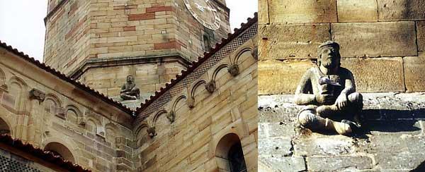 Rosheim: saints Pierre et Paul: la base de la tour de croisée et un marmouset