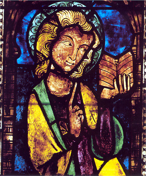Westhoffen, saint Martin: Saint Jean l'Evangéliste. Panneau du vitrail du chœur. 1302