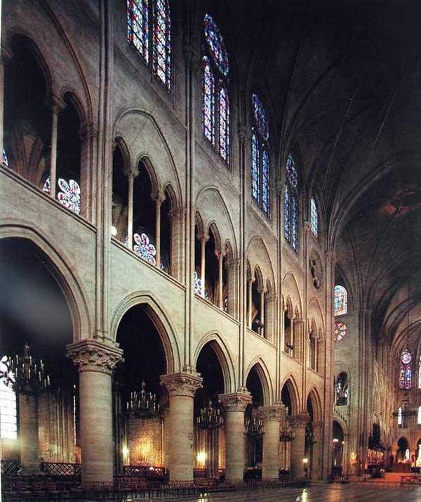 Paris, Notre Dame: élévation de la nef centrale
