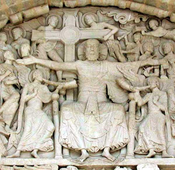Beaulieu sur Dordogne. Le porche du côté sud de l'abbatiale. Le tympan. Détail du Christ du jugement.