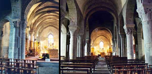 Besse en Chandesse (Puy du Dôme): collégiale saint André. Nef romane de quatre travées