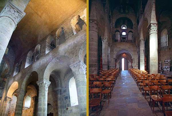 Saint Nectaire (Puy du Dôme): vue générale de la nef vers le narthex et élévation de la nef