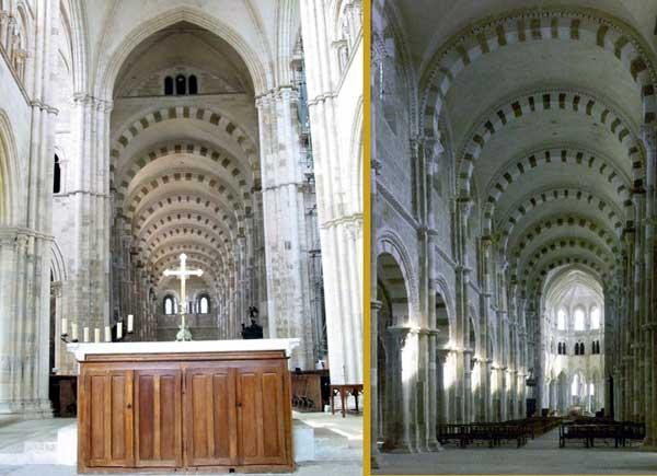 Vézelay (Yonne), basilique sainte Madeleine. La nef: vue depuis le chœur et vue depuis le narthex.