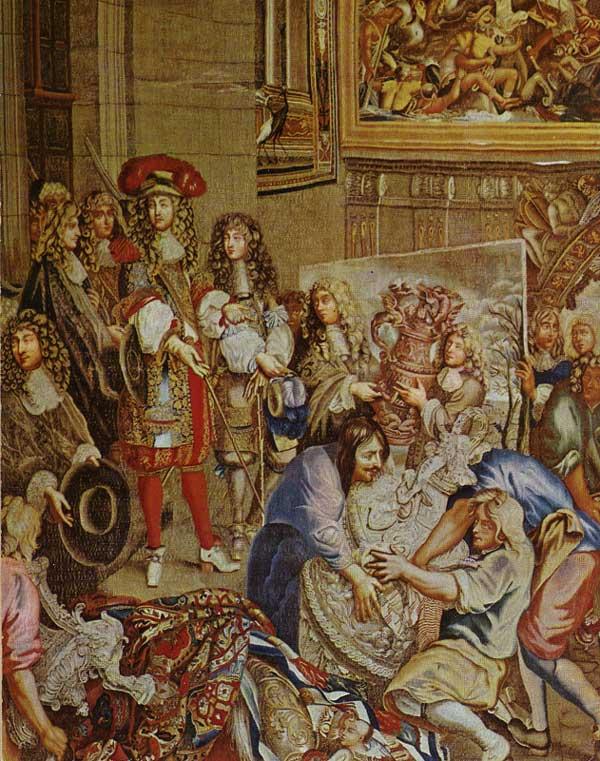 Louis XIV visite la manufacture des Gobelins. 1673. Tapisserie, 370 x 576cm. Versailles, musée du château