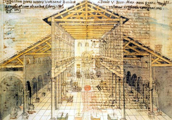 Rome: la basilique paléochrétienne saint Pierre d'après un dessin du XVè. Edifiées sous Constantin vers 326