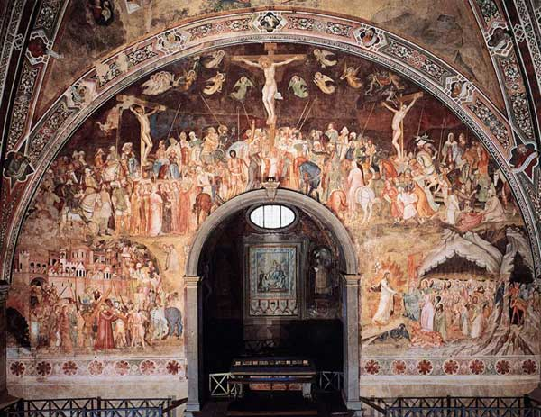 Andrea di Bonaiuto: Crucifixion. 1365-1368. Fresque, largeur: 11,6 m. Florence, Cappella Spagnuolo de Santa Maria Novella