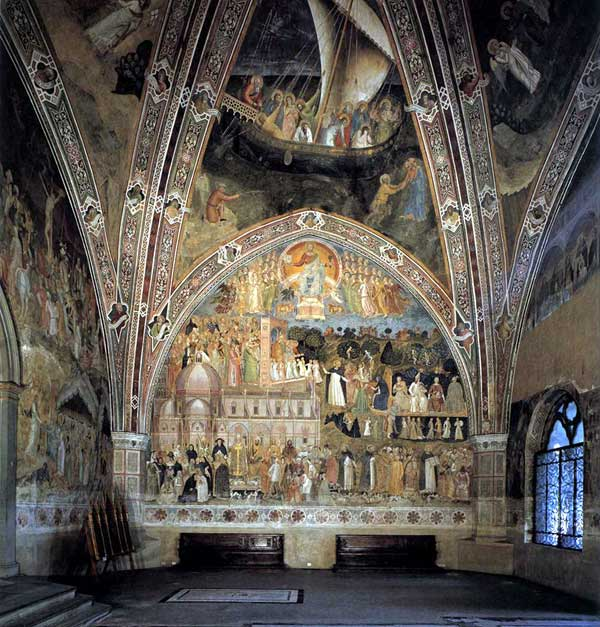 Andrea di Bonaiuto: le triomphe de l'église et la Navicella 1365-1368. Fresque. Florence, Cappella Spagnuolo de Santa Maria Novella