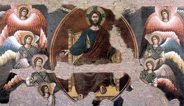 Pietro Cavallini: Le Jugement dernier, détail: le Christ en majesté entouré d'anges. 1293. Fresque. Rome, Sainte Cécile in Trastevere