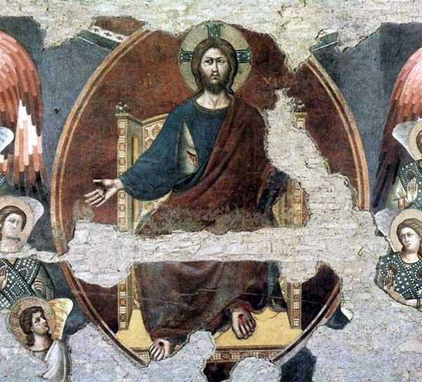 Pietro Cavallini: Le Jugement dernier, détail: le Christ en majesté dans sa mandorle. 1293. Fresque. Rome, Sainte Cécile in Trastevere