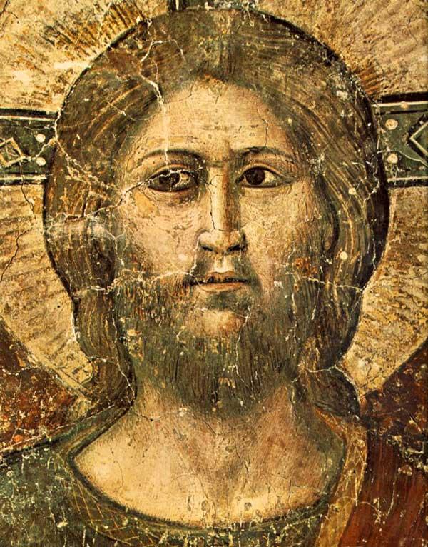 Pietro Cavallini: le Jugement dernier, détail: la tête du Christ. 1293. Fresque; Rome, Sainte Cécile in Trastevere