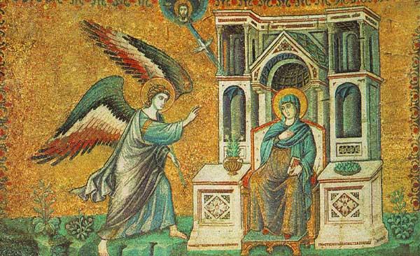 Pietro Cavallini: Mosaïque de l'Annonciation. 1291. Rome, Sainte Marie in Trastevere