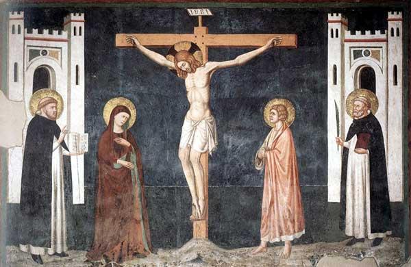 Pietro Cavallini: Crucifixion. Vers 1308. Fresque. Naples, San Domenico Maggiore