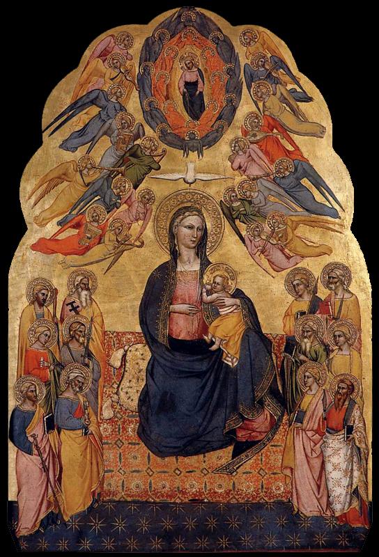 La vierge d'humilité. 1375-1380. Tempera sur panneau de bois, 77 x 51 cm. Pedralbes, Fundación Colección Thyssen-Bornemisza