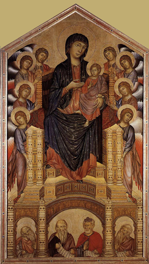 Cimabue: La Maesta, Madone en majesté (1285-1286), tempera sur panneau, 385 x 223cm. Florence, galerie des Offices