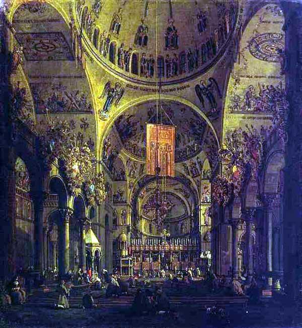 Intérieur de Saint Marc de Venise, d'après une peinture du XVIIè siècle