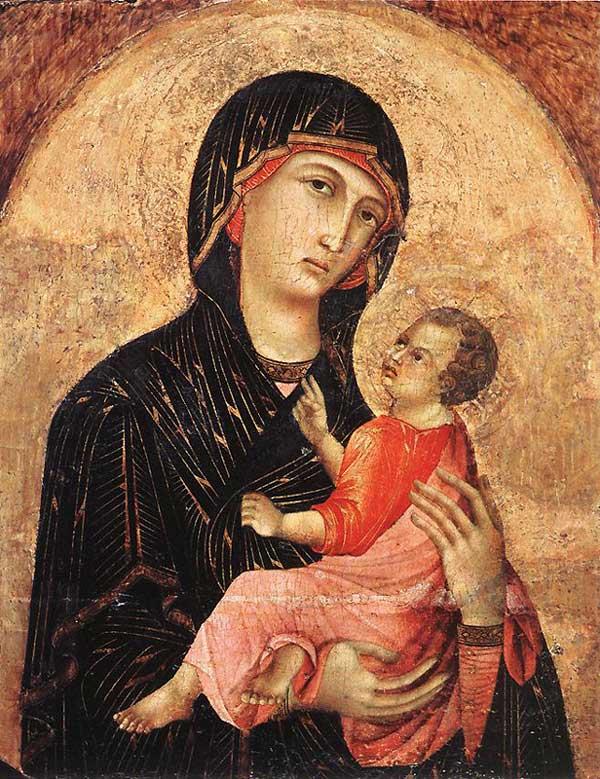 Duccio: Madone et enfant. (N° 593). 1280s. Tempera sur bois, 63 x 49,5 cm. Sienne, Pinacothèque Nationale